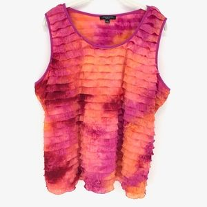 Notations Pink And Orange Ruffle Tank Top